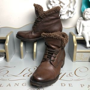 Clark's brown leather combat boots